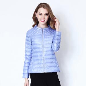 雅鹿轻薄羽绒服女 韩版修身短款薄外套潮反季YR1101090
