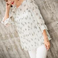 201808250018239932018夏装新品经典图案碎花时尚七分袖女士衬衫韩版小清新 白色