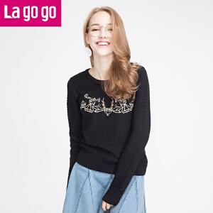 lagogo冬季宽松长袖针织衫女套头秋冬修身显瘦短款毛衣外套