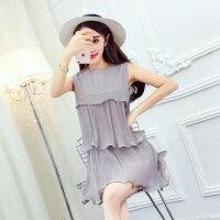 无袖连衣裙潮 夏季新款纯色百褶蛋糕裙气质款A型短裙雪纺裙女