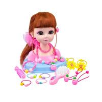 【新品促销】儿童玩具时尚公主仿真洋娃娃 小女孩梳头发模特化妆饰品玩具套装3-6岁 +化妆盒 礼盒装