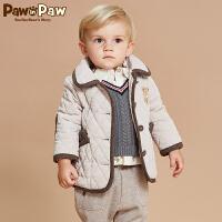 【2件2.5折 到手价:175】Pawinpaw宝英宝卡通小熊童装冬款男宝宝棉服婴幼儿外套拼接风时尚