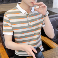 POLO短袖 2021夏季新款男款韩版潮流衬衫领POLO衫短袖 704男装