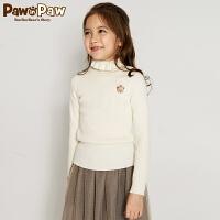 【3件3折 到手价:119】Pawinpaw卡通小熊童装冬女童羊毛衫翻领长袖套头毛衣