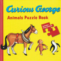 Curious George Animals Puzzle Book 好奇猴乔治动物拼图书 9780547391410