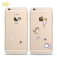 苹果6splus手机壳6创意可爱猫咪iphone6s硅胶软壳6plus防摔保护套