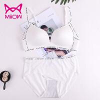 猫人(MiiOW)无钢圈薄款文胸套装光面运动字母性感内衣女无痕聚拢文 胸套 装