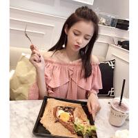 衬衫女2018夏装新款韩版宽松甜美荷叶边衬衣喇叭袖气质上衣潮