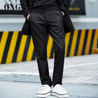 GXG休闲裤男装 秋季青年斯文修身时尚裤子男黑色休闲裤韩版长裤