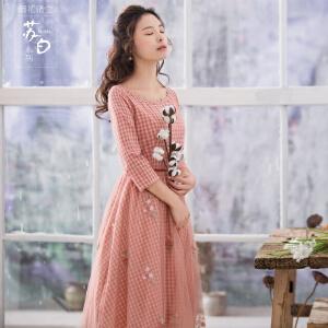 烟花烫2018秋装新款女装气质中长款格子刺绣连衣裙 柳丝青