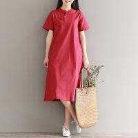 中式复古盘扣中国民族风唐装短袖棉麻连衣裙女夏亚麻中长款旗袍裙