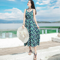 夏季新品女装中长款吊带裙无袖雪纺连衣裙波西米亚海边度假沙滩裙 图片色 XZC411