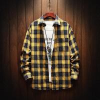 新款格子长袖衬衫男格子韩版潮流帅气青少年学生休闲衬衣男寸衣