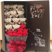 小熊花束礼盒卡通娃娃皂花新奇520节女朋友生日毕业创意礼物礼品
