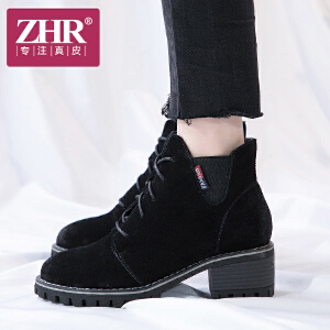 ZHR2017秋季新款粗跟短靴英伦马丁靴高跟复古单靴系带真皮女靴子F38