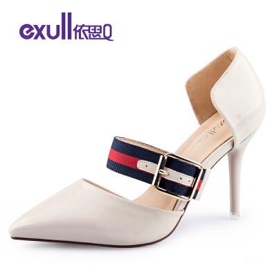 依思q新款时尚尖头中空女鞋百搭高跟细跟单鞋女