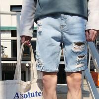 夏季破洞牛仔裤男士韩版潮流港风五分裤休闲百搭中裤男生运动短裤
