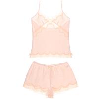 抖音网红潮牌2019家居服蕾丝拼接粉色甜美舒适透气性感两件套吊带睡衣套装 粉色