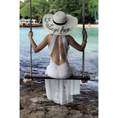2018夏季新款泰国吊带露背沙滩裙巴厘岛海边度假镂空挂脖裙子性感白色蕾丝连衣裙长裙 白色 发货周期:一般在付款后2-90天左右发货,具体发货时间请以与客服协商的时间为准