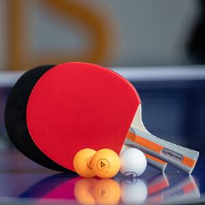 [满68包邮]得力风行F2310乒乓球拍 家庭2只装横排双面反胶双打得力乒乓球拍