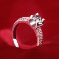 钻戒女钻石戒指女克拉指环女戒情侣对戒求婚戒女银饰品 材质925银镀白金 8号-22号 现货即发