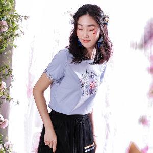 艺术家联名款 熙世界2019夏季新款花卉百搭上衣蕾丝短袖t恤女装