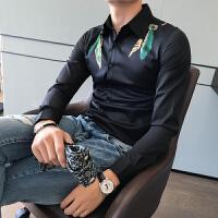 男士长袖衬衣个性休闲羽毛印花发型师衬衫潮款