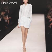 FLEUR WOOD2017秋季新款女装欧美条纹小立领长袖衬衫短裤时尚套装