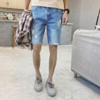 牛仔短裤男夏季新款薄款破洞修身休闲五分裤青少年马裤