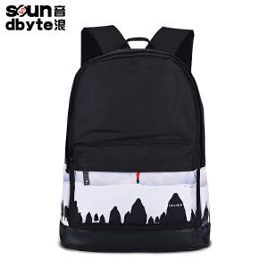 【支持礼品卡支付】soundbyte韩版双肩包男学院风学生书包女印花帆布电脑背包