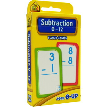 【加减法0-12】School Zone Flash Cards Subtraction 0-12 英文原版 儿童早教入学准备 字卡闪卡 加减法