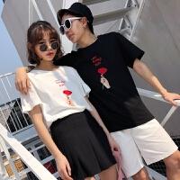 2018潮流情侣装夏装新款玫瑰刺绣T恤女火学生风夏季短袖潮