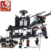 快乐小鲁班城市警察总局系列兼容乐高城市系列拼装积木塑料组装汽车直升机军事男孩子8岁6玩具儿童节礼物 小鲁班1500