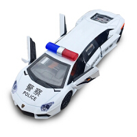 加长警车合金车模 仿真跑车儿童玩具声光回力小汽车模型