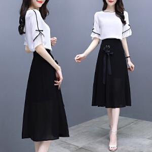 安妮纯夏装2018新款女装韩版气质冷淡风两件套装裙子中长款雪纺连衣裙女