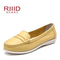 RIIID新款真皮软面平底单鞋 奥康女鞋平跟圆头简约包子鞋