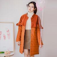 棉衣女中长款秋冬新款韩版荷叶边毛呢拼接显瘦外套