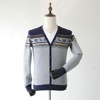 秋装V领男士修身假两件时尚花纹拼色针织衫男式打底衫潮上衣