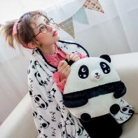 大号熊猫公仔抱枕毯子枕头办公室居家午睡午休睡觉毯子