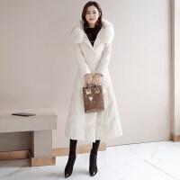 羽绒服女中长款2018新款韩版冬装修身显瘦长款长过膝白鸭绒大毛领