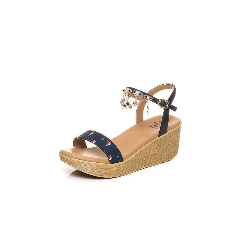 Tata/他她2017年夏季印花布可爱水钻饰物坡跟女凉鞋2NTC3BL7