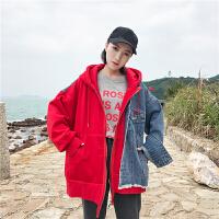 秋冬女装韩版原宿bf风个性不规则卫衣牛仔拼接假两件连帽外套学生