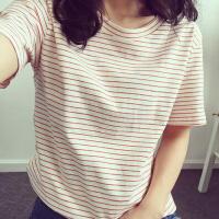 【支持礼品卡支付】短袖T恤女夏季新款韩版原宿风2018学生条纹半袖上衣服 17XHJ6101#