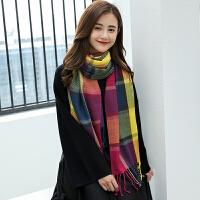 慈姑仿羊绒格子围巾女冬季长女士韩版秋毛线针织装饰围巾学生厚披肩