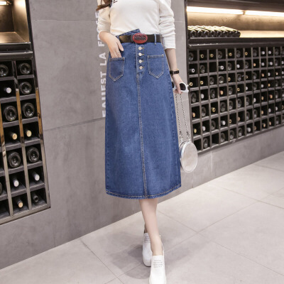 牛仔半身裙女韩版时尚2018修身高腰高低扣牛仔长裙半身裙A字裙 蓝色 发货周期:一般在付款后2-90天左右发货,具体发货时间请以与客服协商的时间为准