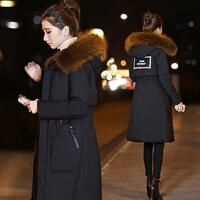 羽绒服女中长款2017新款秋冬季大毛领韩版时尚收腰潮韩国外套