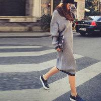 2015秋冬时尚韩版街头加大宽松灰色毛衣超长款宽松套头毛衣裙