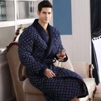 2018新款冬季男士睡袍纯棉夹棉袄保暖睡衣中老年人加棉加厚加长款老人浴袍 XL 125-145斤穿