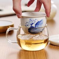 耐热玻璃杯手绘陶瓷内胆过滤茶杯透明水杯子办公泡茶杯