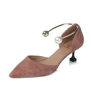 Tata/他她2017年夏季羊皮时尚珍珠金属脚环女皮凉鞋6ZBA7BK7